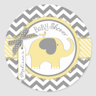 Sticker Rond Baby shower jaune d'impression d'éléphant et de
