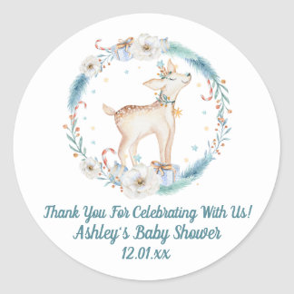 Sticker Rond Baby shower mignon de région boisée d'hiver