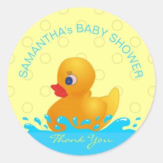 Sticker Rond Baby shower mignon en caoutchouc bleu jaune