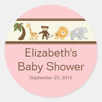 Sticker Rond Baby shower rose de fille d'animaux de safari de