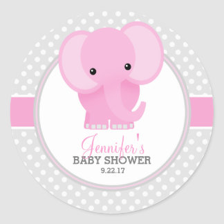 Sticker Rond Baby shower (rose) d'éléphant de bébé