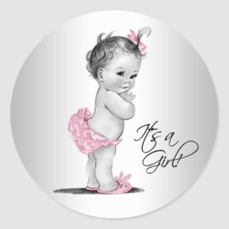 Sticker Rond Baby shower vintage gris rose de fille
