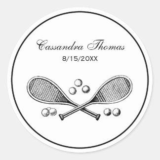 Sticker Rond Balles de tennis croisées par cru de raquettes de