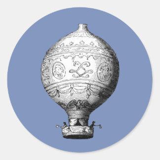 Sticker Rond Ballon à air chaud vintage de Montgolfier