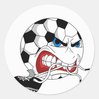Sticker Rond Ballon de football fâché