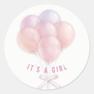 Sticker Rond Ballons roses de bébé