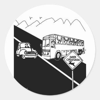 Sticker Rond Bande dessinée 3251 d'autobus