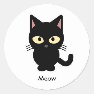 Sticker Rond Bande dessinée mignonne de meow de chat noir
