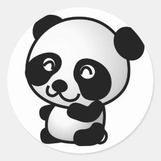 Sticker Rond Bande dessinée mignonne de panda de bébé