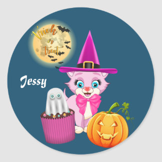 Sticker Rond Bande dessinée rose de Halloween de chaton