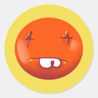 Sticker Rond bande dessinée tirée par la main drôle de visage