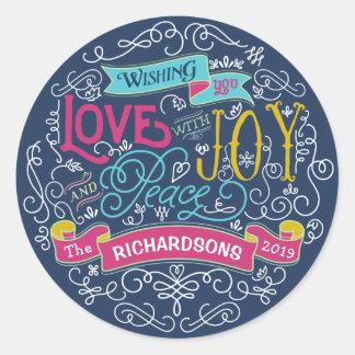 Sticker Rond Bannière de coutume de paix de joie d'amour de