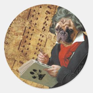 Sticker Rond Barkthoven - le carlin de Beethoven