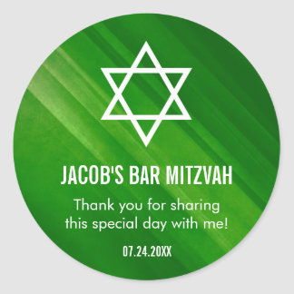 Sticker Rond Barre grunge verte moderne Mitzvah