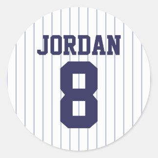Sticker Rond Base-ball Jersey - fête d'anniversaire de thème de
