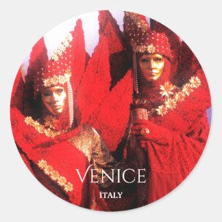 Sticker Rond Beaux couples masqués à Venise