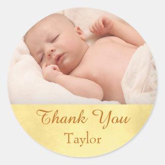 Sticker Rond Bébé de photo de Merci