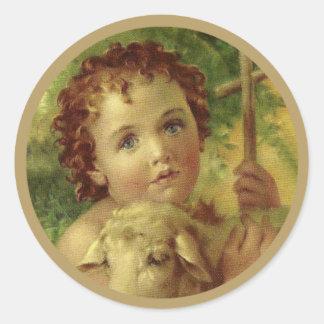 Sticker Rond Bébé Jésus avec la croix et l'agneau