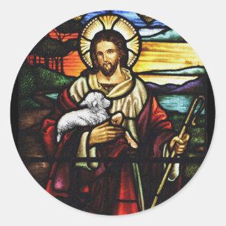 Sticker Rond Berger de Jésus avec ses moutons