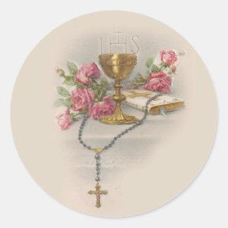Sticker Rond Bible de calice d'eucharistie de chapelet de