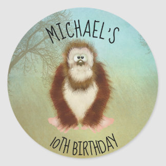 Sticker Rond Bigfoot/anniversaire de Squatch