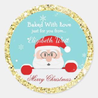Sticker Rond Biscuits de Noël, parties scintillantes d'or,