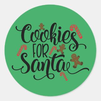 Sticker Rond Biscuits pour Père Noël