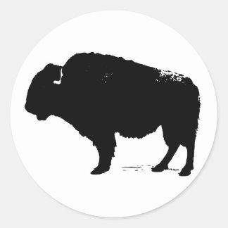 Sticker Rond Bison noir et blanc de Buffalo d'art de bruit