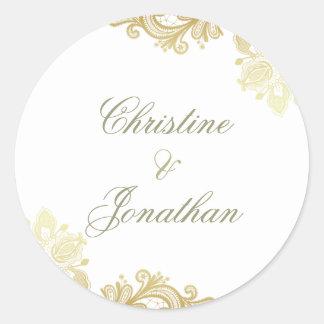 Sticker Rond Blanc chic et mariage floral de dentelle de