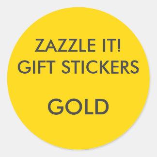 Sticker Rond Blanc ROND d'autocollants de cadeau d'OR fait sur