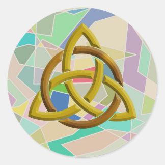 Sticker Rond Blocs géométriques celtiques d'aquarelle de noeud