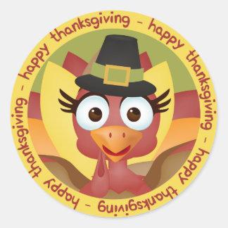 Sticker Rond Bon thanksgiving mignon de la Turquie de bande