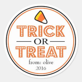 Sticker Rond Bonbons au maïs à des bonbons ou un sort