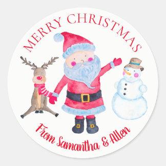 Sticker Rond Bonhomme de neige de Père Noël Rudolf personnalisé
