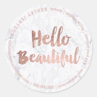 Sticker Rond Bonjour beau marbre rose de typographie d'or