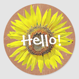 Sticker Rond Bonjour jaune et Brown d'autocollants de tournesol