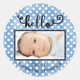 Sticker Rond bonjour les points bleus/photo - entourez