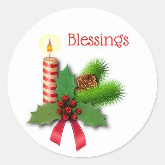 Sticker Rond Bougie de houx de bénédictions avec le ruban rouge