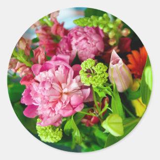 Sticker Rond Bouquet de pivoine