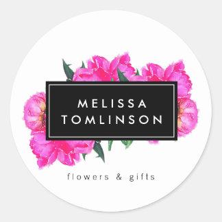 Sticker Rond Bouquet floral d'aquarelle de pivoines lumineuses