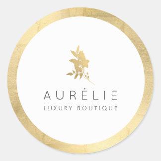 Sticker Rond Boutique de luxe florale d'or simple de Faux
