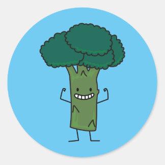 Sticker Rond Brocoli fléchissant le légume heureux de vert de