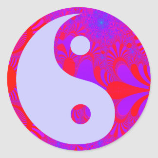 Sticker Rond Brume pourpre Yin et Yang