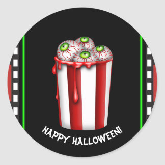 Sticker Rond Cadeau de nuit d'effroi de Halloween de globe