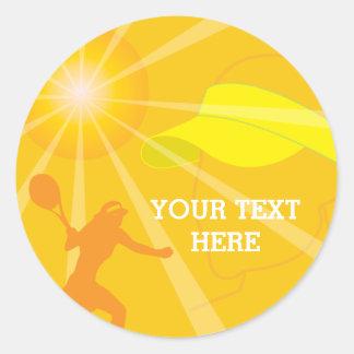 Sticker Rond Cadeau jaune de cadeau d'anniversaire de tennis de