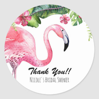 Sticker Rond Cadeau tropical d'été de flamant rose