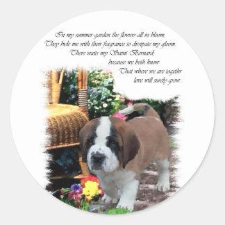 Sticker Rond Cadeaux d'art de St Bernard