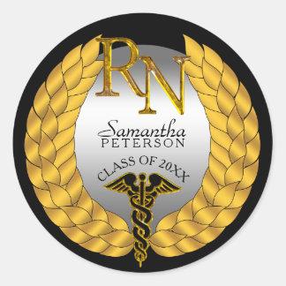 Sticker Rond Caducée élégant de soins de RN de guirlande de
