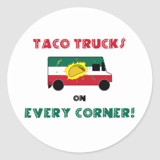 Sticker Rond Camions de taco sur chaque coin