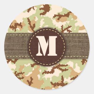 Sticker Rond Camouflage de désert